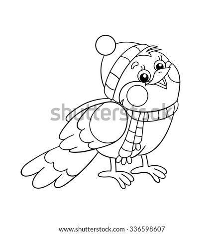Coloring Page Outline Funny Bird Winter Stock Vector Royalty Free 336598607