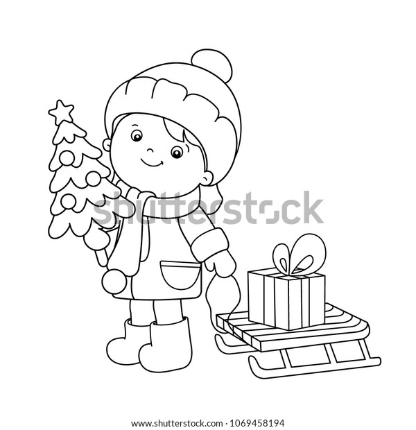 Coloring Page Outline Girl Gifts Christmas Stock ...