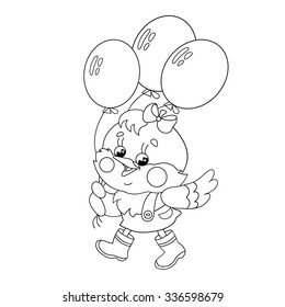 Coloring Page Outline Of A Happy Chicken Walking With Balloon