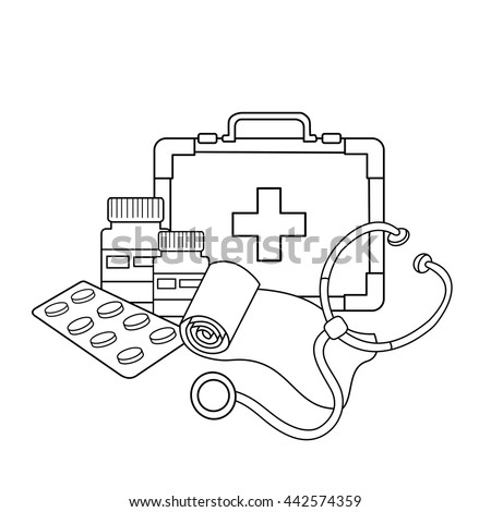 Coloring Page Outline Medical Instruments Profession Stock Vector ...