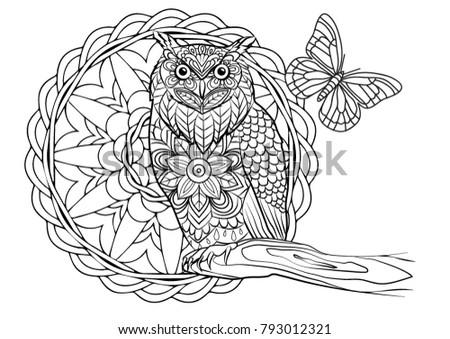 Coloring Page Owl Bird Mandala Stock Vector (Royalty Free) 793012321 ...