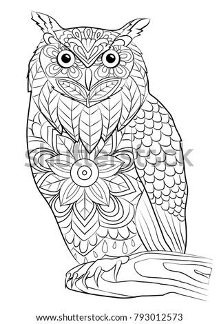 Coloring Page Owl Bird Mandala Stock Vector (Royalty Free) 793012573 ...
