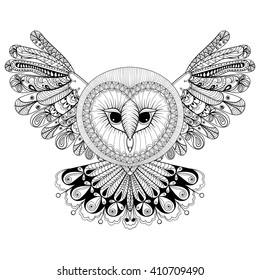 8233587d0b831 Coloring page with Owl, zentangle hand drawing illustration, tribal totem,  mascot, doodle