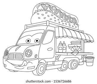 Coloring page. Coloring picture of cartoon food truck with emoji face. Childish design for kids activity colouring book about classic vehicles.