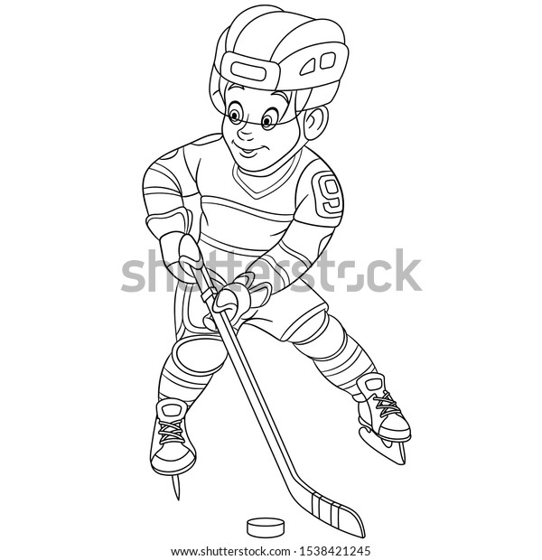 Coloring Page Coloring Picture Cartoon Hockey Stock Vector Royalty Free 1538421245