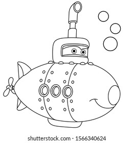 Coloring page. Coloring picture of cartoon submarine ship. Childish design for kids activity colouring book about transport.