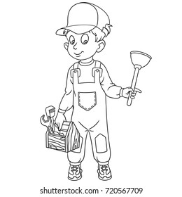 Coloring page of plumber with plunger and other repairing tools. Coloring book design for kids and children.