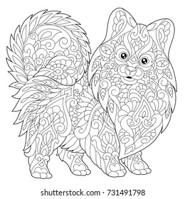 Coloring page of pomeranian, dog symbol of 2018 Chinese New Year. Freehand sketch drawing for adult antistress colouring book with doodle and zentangle elements.