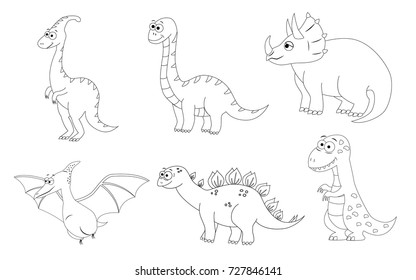 coloring page for preschool children set of different cartoon dinosaurs vector illustration stegosaurus