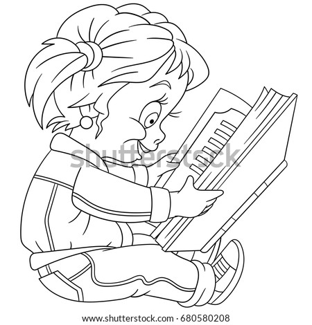 Coloring Page Preschool Girl Reading Book Stock Vector Royalty Free