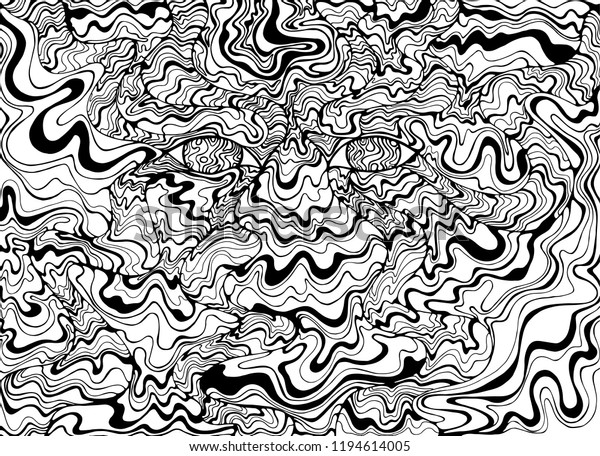 Coloring Page Psychedelic Alien Eyes Waves Stock Vector (Royalty Free)  1194614005