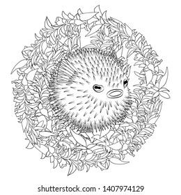 Coloring page with puffer fish in patterned style. Black white hand drawn doodle with creepy fish for art therapy. Sketch for cover, poster, print, t-shirt. Vector illustration