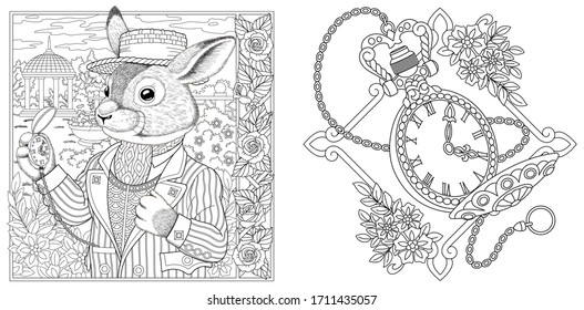 Coloring page. Rabbit man with vintage clock on chain. Line art engraving design for adult or kids colouring book in zentangle style. Vector illustration.