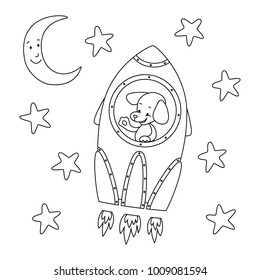 coloring page rocket vector illustration 260nw