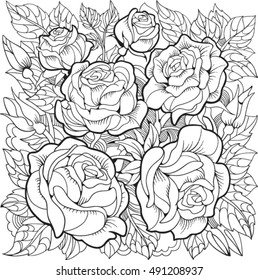 Flowers Coloring Pages Images Stock Photos Vectors Shutterstock