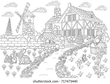 coloring page rural landscape farm 260nw