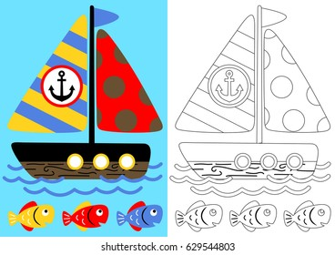 coloring page with sailboat and fish, vector cartoon
