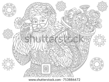 coloring page of santa claus with full bag of holiday gifts christmas background vintage snowflakes