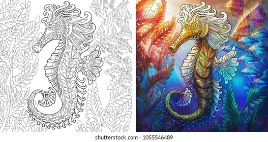 coloring page seahorse shoal fishes 260nw