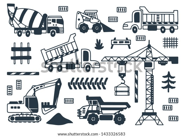 Coloring Page Set Construction Trucks Crane Stock Vector (Royalty Free)  1433326583