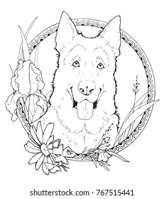 coloring page with shepherd in the decorative frame