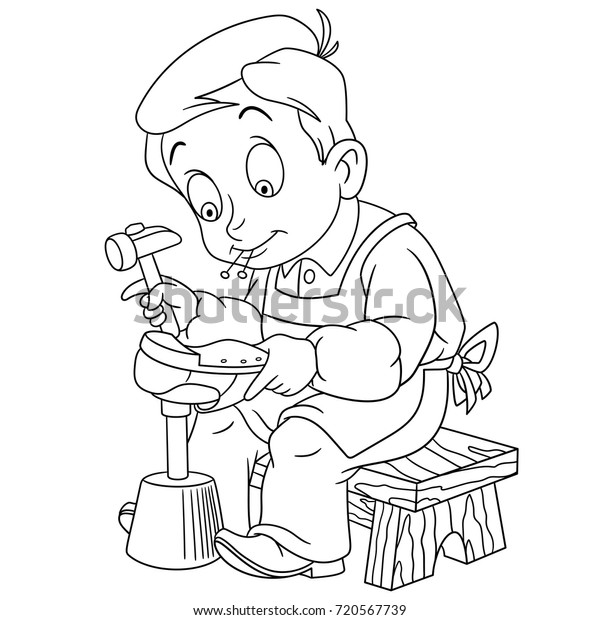 Coloring Page Shoemaker Cobbler Coloring Book Stock ...