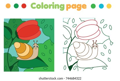coloring page snail on flower 260nw