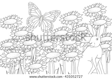 Coloring Page Spring Rabbit Flower Butterfly Stock Vector (Royalty ...