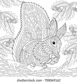 Coloring Page Of Squirrel Sitting On Oak Tree Branch And Eating Pine Cone Freehand Sketch