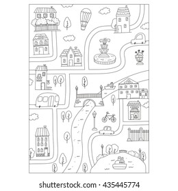 coloring page sunny city for kids