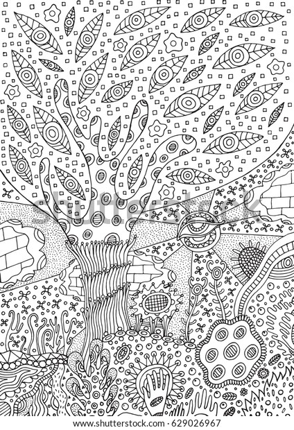 coloring page surreal landscape tree 600w