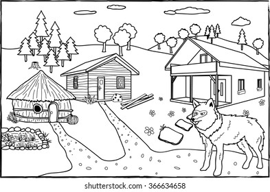 Coloring page - The three little pigs