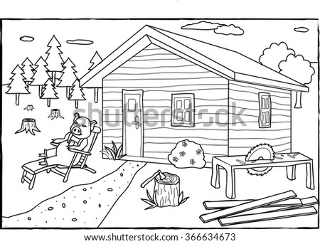 Coloring Page Three Little Pigs Stock Vector Royalty Free