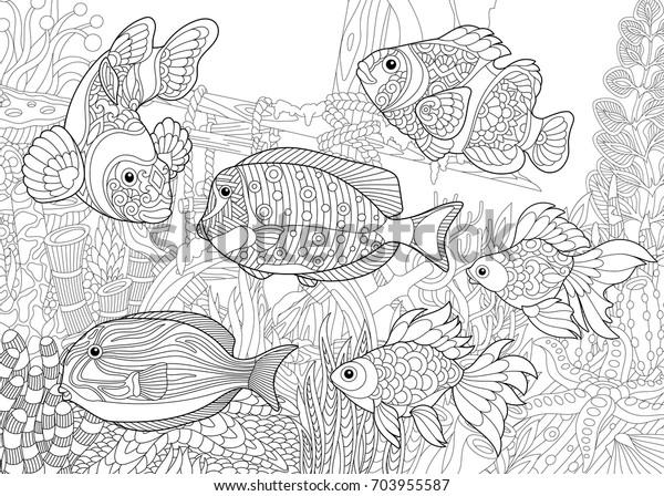 Image Vectorielle De Stock De Page De Coloriage Du Monde Sous Marin 703955587