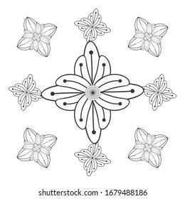 coloring page. Vector coloring book of flowers for adult, for meditation, relax and fun. attractive flowers design for colouring book in black outline and white background