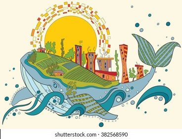 Coloring page. Vector fantastic city whale colorful  Floral Pattern. Hand Drawn Texture, Decorative Flowers, Coloring Book