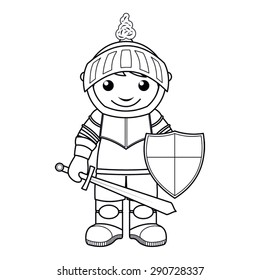 Coloring page: vector Illustration of a black and white outline image of knight with a sword and shield