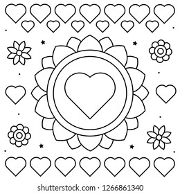 Coloring page. Vector illustration of flowers and hearts.