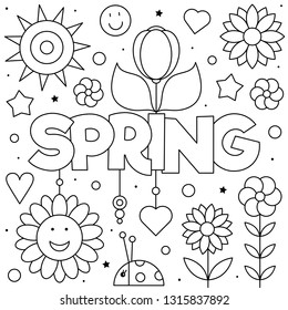 Coloring page. Vector illustration of flowers. Spring.