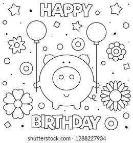 Coloring page. Vector illustration. Pig with balloons.