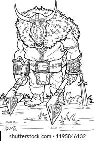Coloring page Viking Axe cartoon character - vector illustration .EPS10