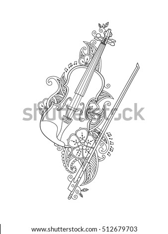 Coloring Page Violin Bow Flowers Leafs Stock Vector Royalty Free