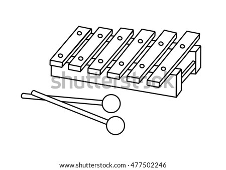Coloring Page Xylophone Stock Vector Royalty Free 477502246