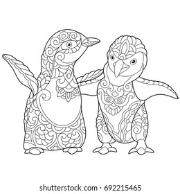 coloring page young emperor penguins 260nw