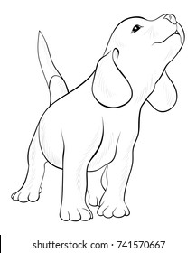 Dog free to color for children : cute female dog - Dogs Kids ...   280x217
