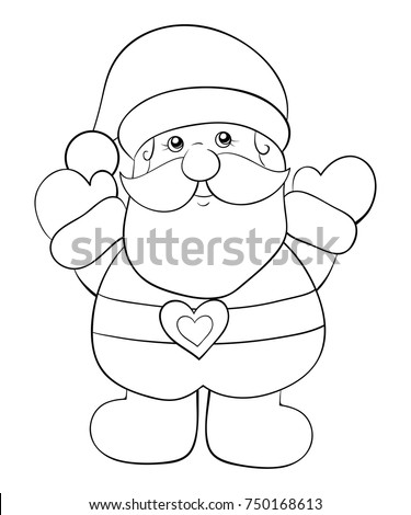 coloring pagebook for children a cute santa claus for christmasline art style