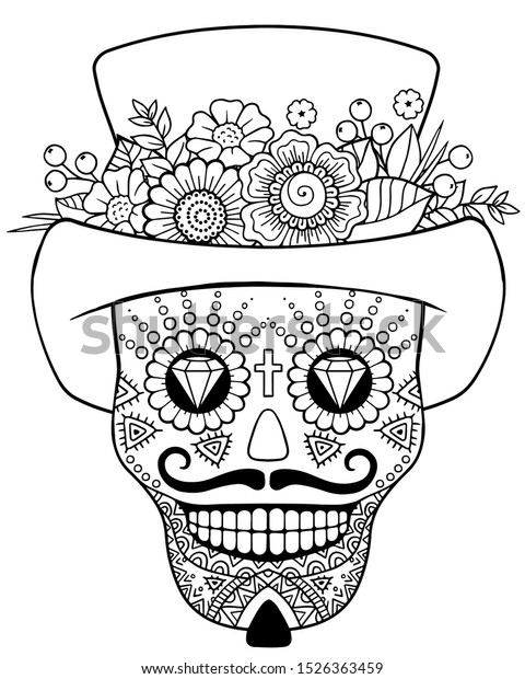 Coloring pages for adult. Day of the Dead Sugar Skull in Mexico. Dia de los Muertos Mexican national holiday, fiesta. Men head Skull.  Hand drawn Vector illustration Isolated on white background