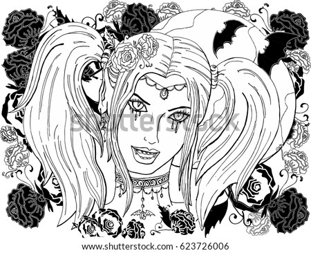 Amazing Cliparts Today:1582164842 | Girl Vampire Clipart Colouring ...