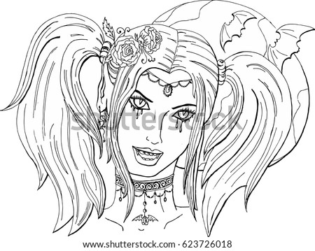 Coloring Pages Adults Beautiful Girl Vampire Stock Vektorgrafik