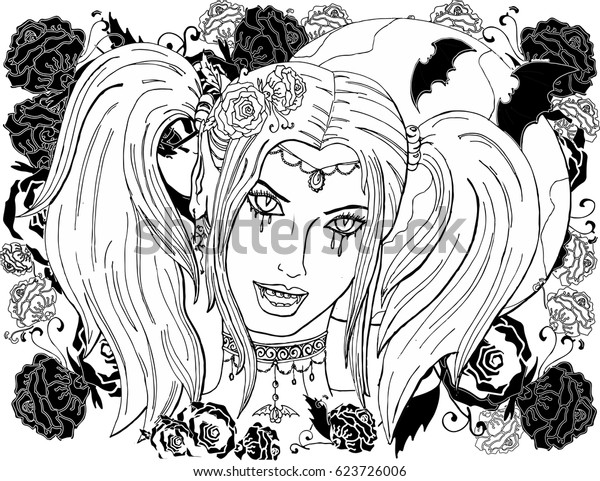 Coloring Pages Adults Beautiful Girl Vampire Stock Vector